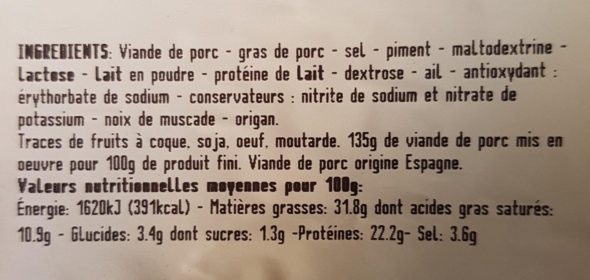 Fines tranches de chorizo espagnole - Ingrédients
