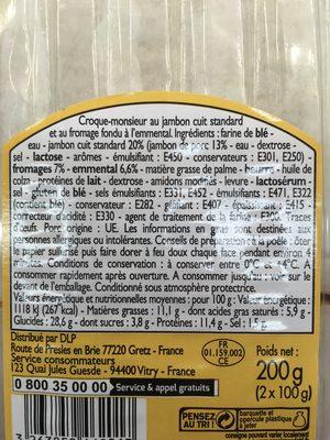 Croque monsieur - Ingredients - fr