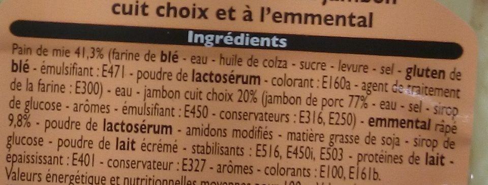 2 Croque Monsieur Jambon Emmental - Ingrédients - fr