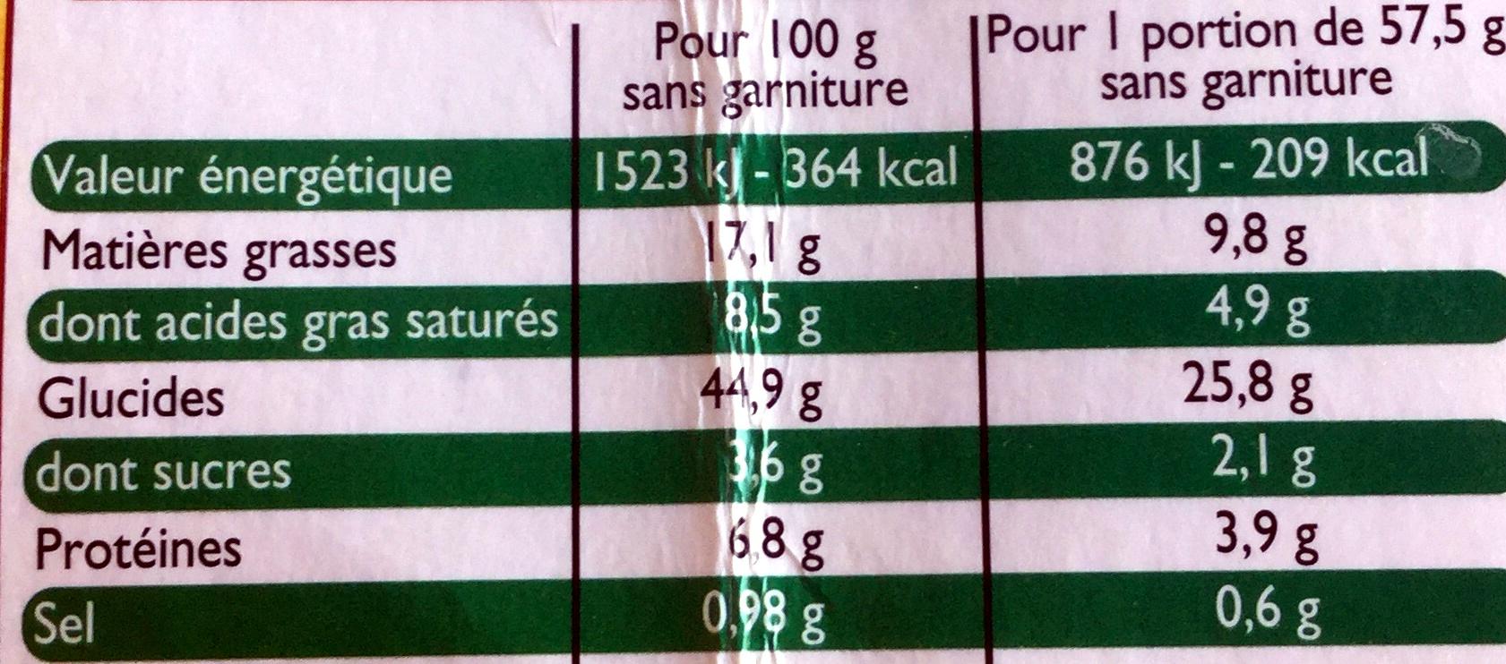 Pâte à Pizza - Nutrition facts - fr