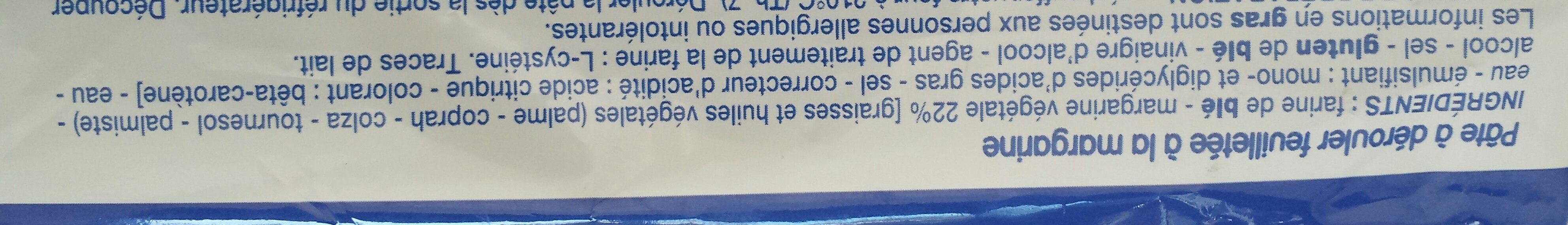 Pate feuilletée - Ingrédients