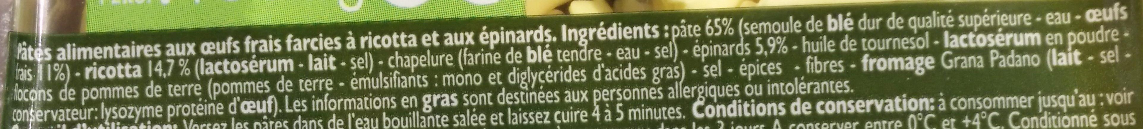 Tortelloni ricotta épinards - Ingredienti - fr