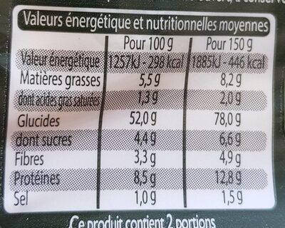 Tortelloni ricotta épinards - Valori nutrizionali - fr