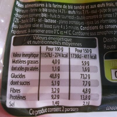 Tortellini aubergine, tomate, mozarella - Voedingswaarden - fr