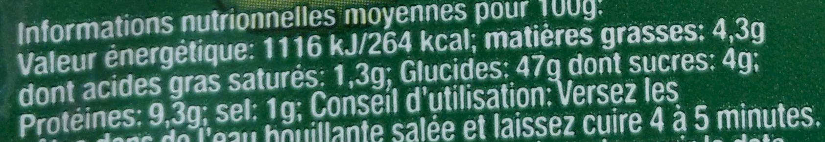 Ravioli aux Cèpes - Nutrition facts