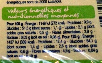 Tagliatelles aux œufs Bio - Nutrition facts