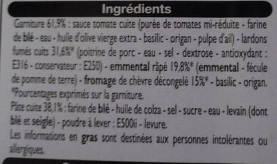 Pizza Lardons Chèvre - Ingrédients