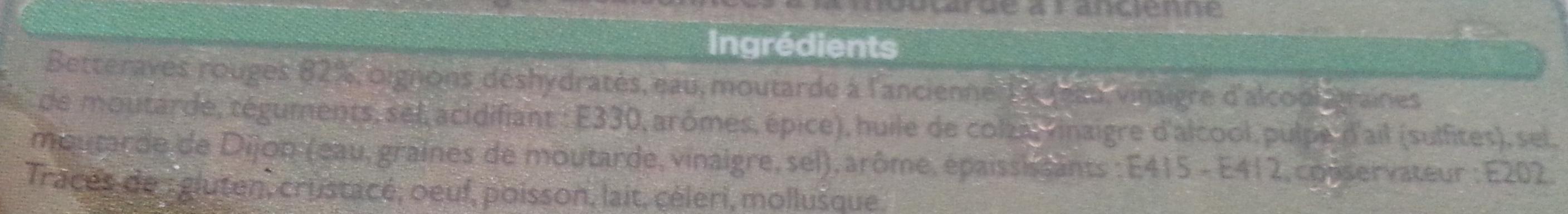 Betteraves rouges à la moutarde à l'ancienne - Ingrediënten