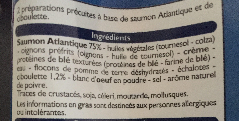 Hachés au saumon et à la ciboulette - Ingrediënten