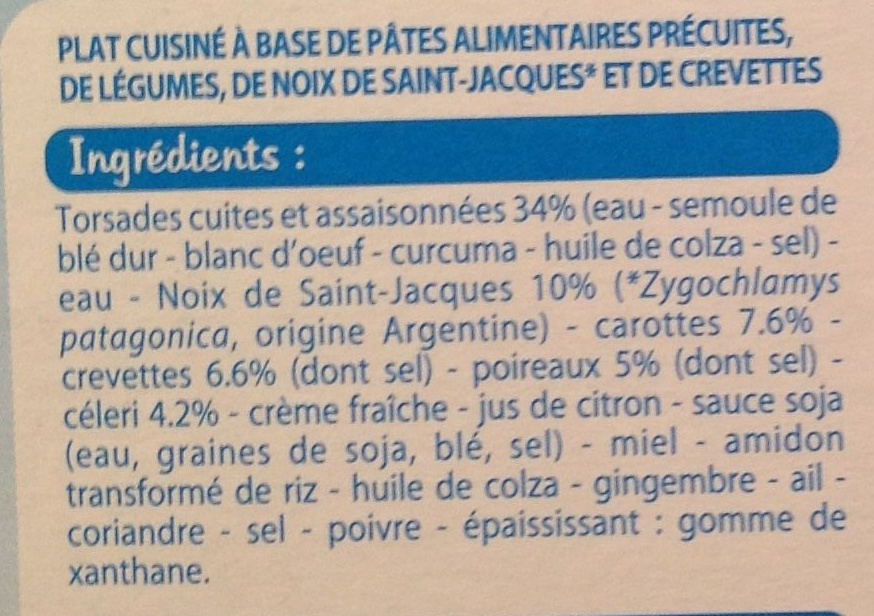 Tortis, Noix de Saint-Jacques* et crevettes - Ingrédients - fr