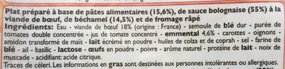 Lasagnes - Ingrédients - fr
