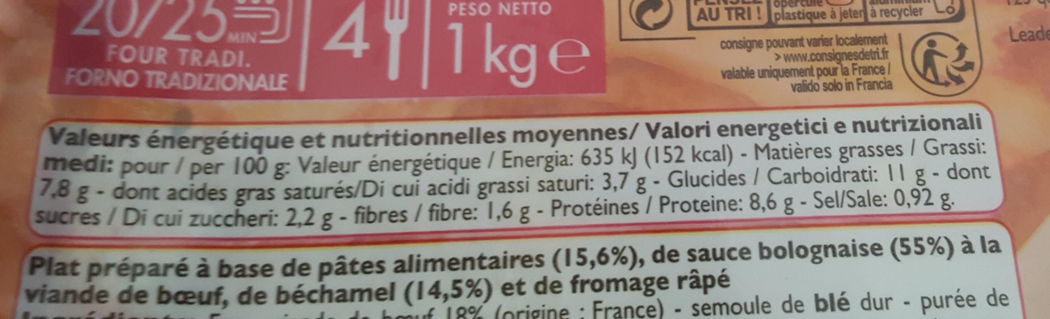 Lasagnes - Informations nutritionnelles
