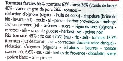 Tomates farcies et riz cuisiné - Ingredients - fr