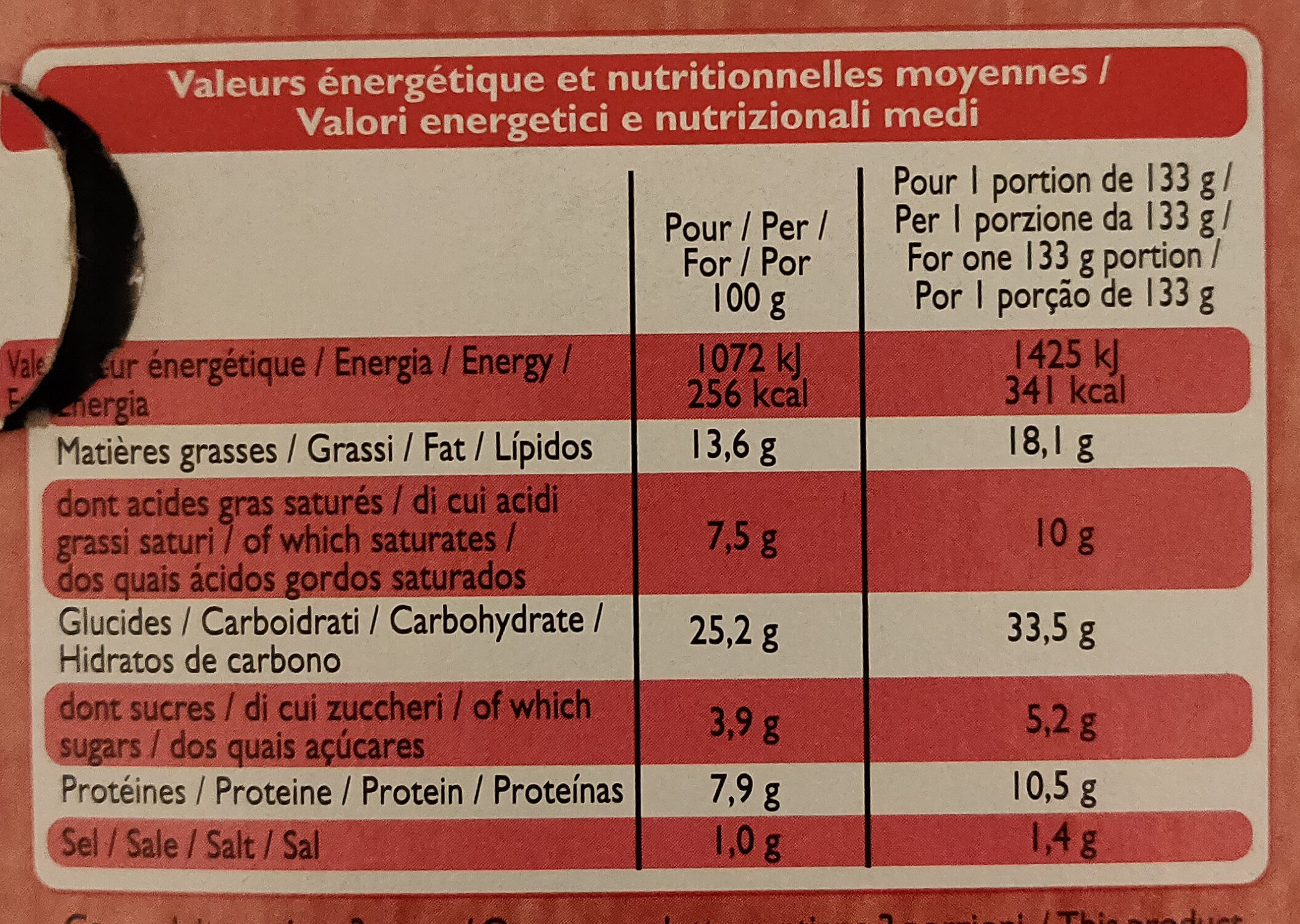 Quiche Lorraine - Voedingswaarden - fr