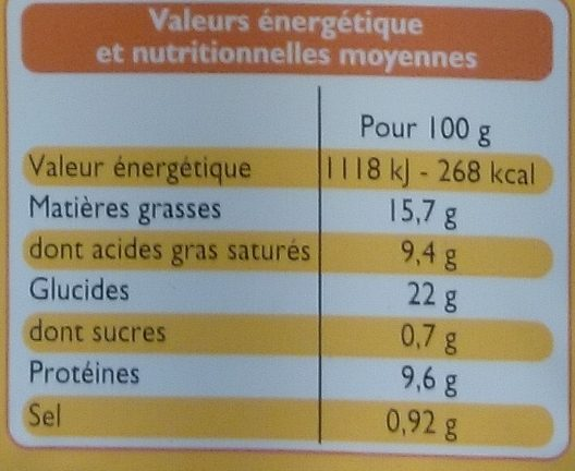 2 Tartes aux 3 Fromages - Nutrition facts - fr