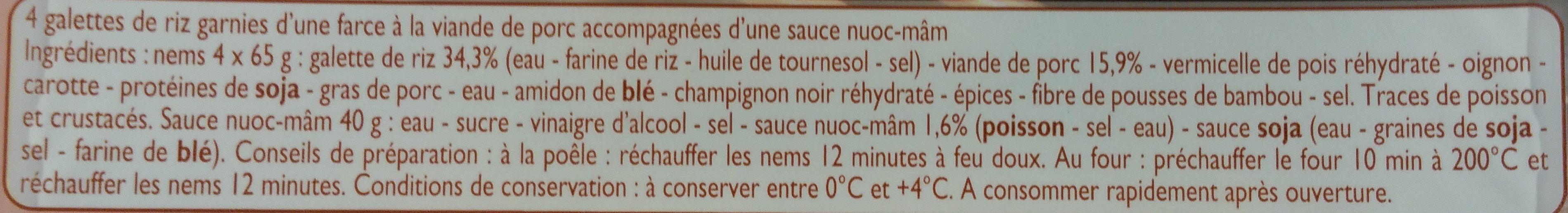 Nems de Porc et sauce Nuoc Mâm - Ingrédients - fr