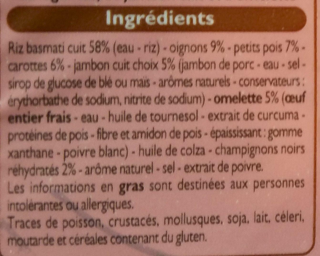 Délices du Monde Riz Cantonais - Ingredients - fr