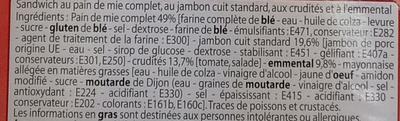 Maxi Sandwich Jambon Emmental Crudités - Ingrediënten