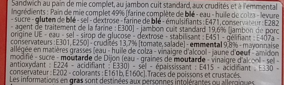 Pain de mie complet Jambon Emmental Crudités - Ingrediënten - fr