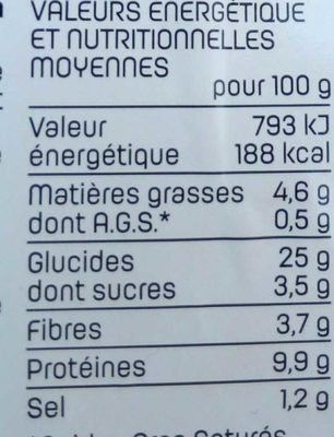 Thon Crudités - Informations nutritionnelles