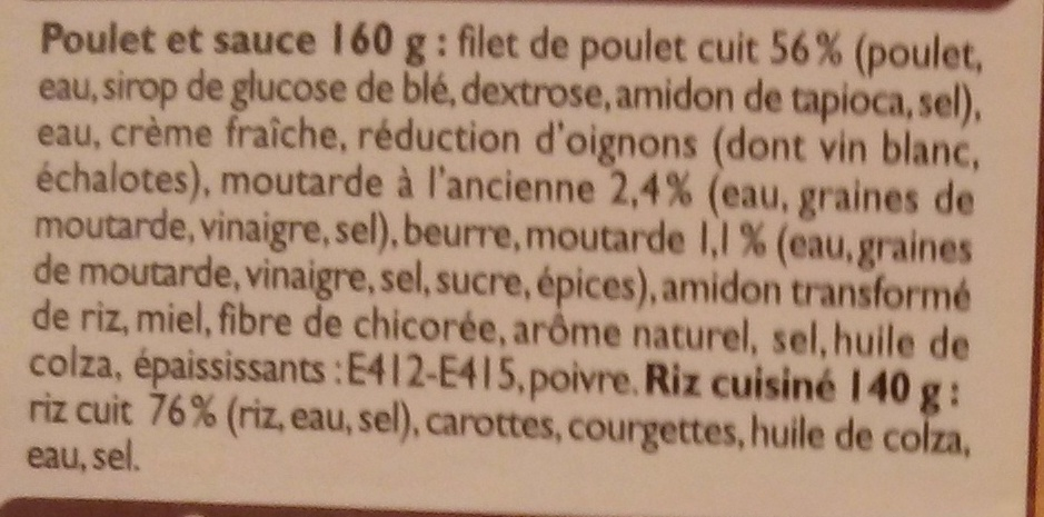 Poulet et riz sauce moutarde - Ingredients - fr