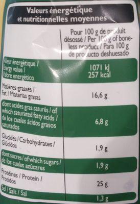 Mini Travers de Porc Nature - Informations nutritionnelles