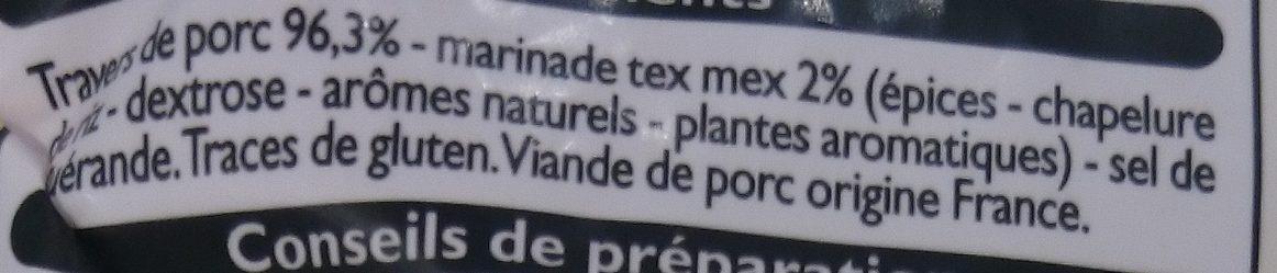 Minis Travers de Porc Tex Mex - Ingrédients - fr