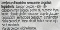 Jambon cuit supérieur - Ingrediënten