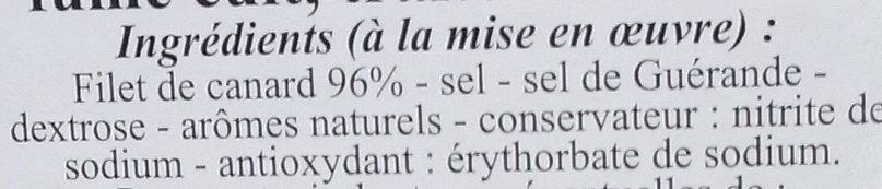 Filet de Canard Fumé - Ingrédients