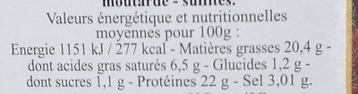 Filet de Canard Fumé - Informations nutritionnelles