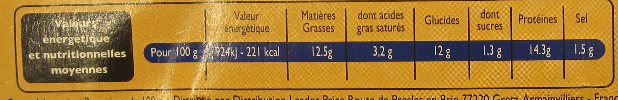 Cordon Bleu de Dinde - Nutrition facts - fr