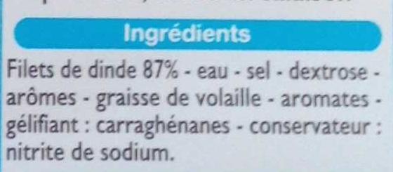 Blanc de Dinde (4 Tranches) - Ingrédients - fr