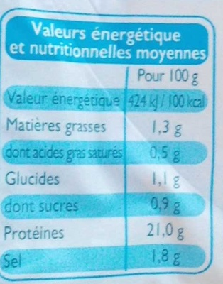 Blanc de Dinde (4 Tranches) - Informations nutritionnelles - fr
