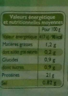 Blanc de Poulet, Recette Aux Fines Herbes (4 Tranches) - Informations nutritionnelles