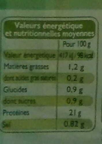 Blanc de Poulet, Recette Aux Fines Herbes (4 Tranches) - Nutrition facts - fr