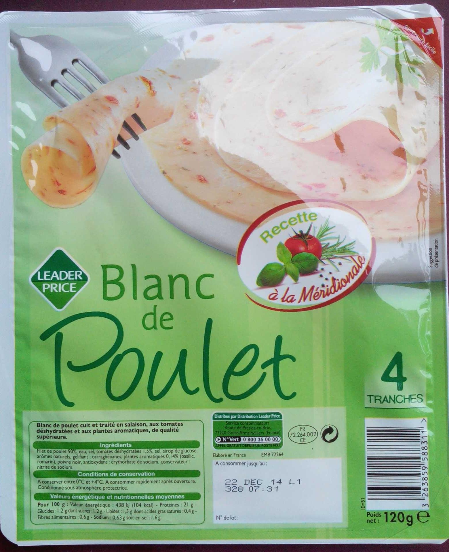 Blanc de Poulet, Recette à la Méridionale (4 Tranches) - Produit - fr