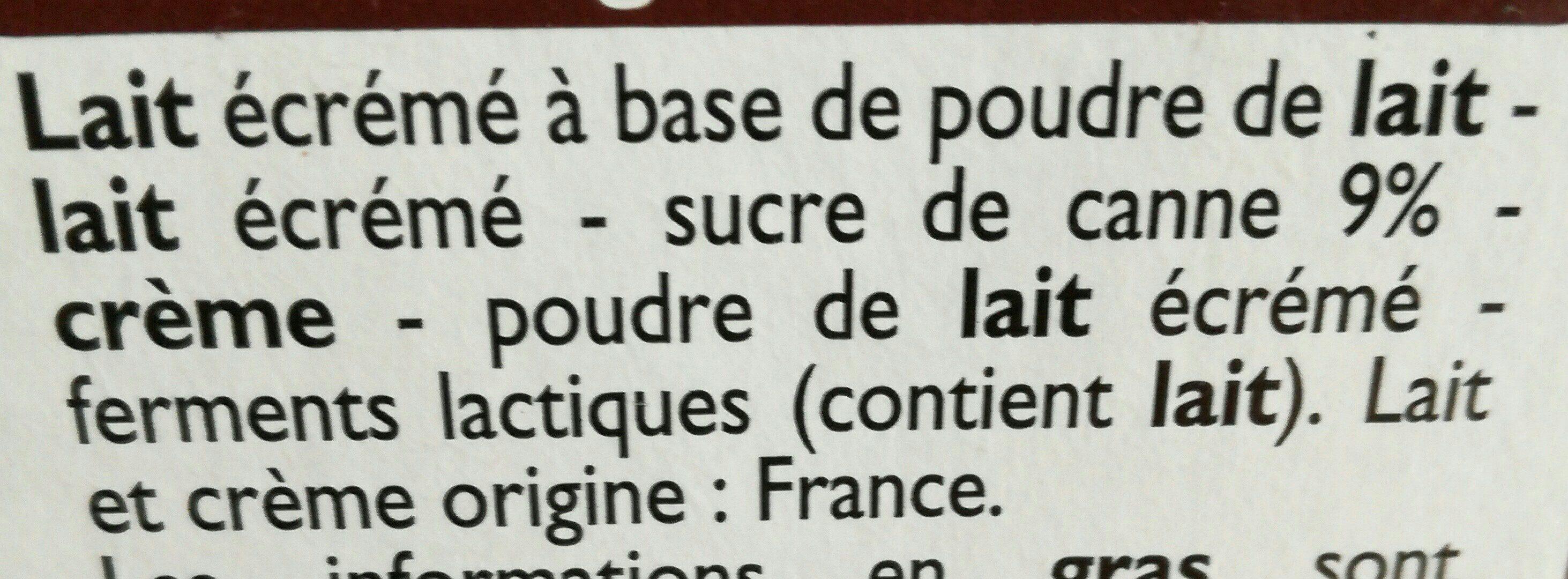 Yaourts nature sucrés Au Sucre de Canne - Ingredients - fr