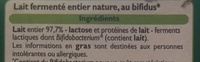 Bifidus nature - Ingredients - fr