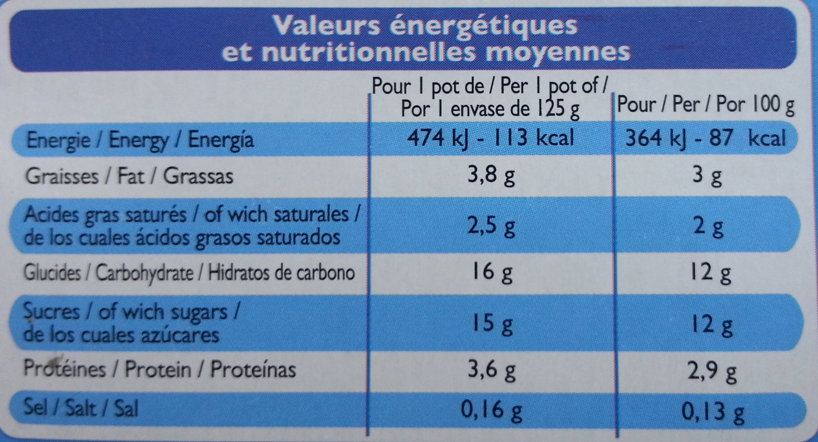 Yaourts aux fruits Mixés - Sans Morceaux - Nutrition facts - fr
