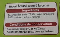 Yaourts aux fruits avec morceaux Cerises - Ingrediënten - fr