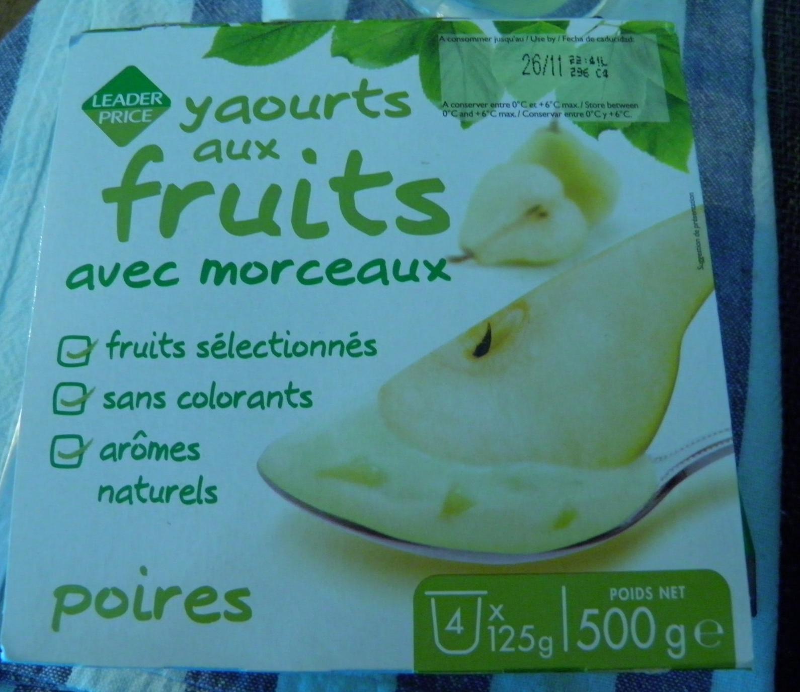 Yaourts aux fruits avec morceaux Poires - Produit