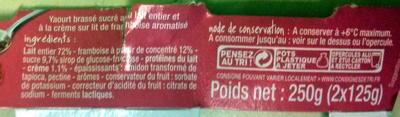 2 yaourts sur lit de framboise - Ingrédients - fr