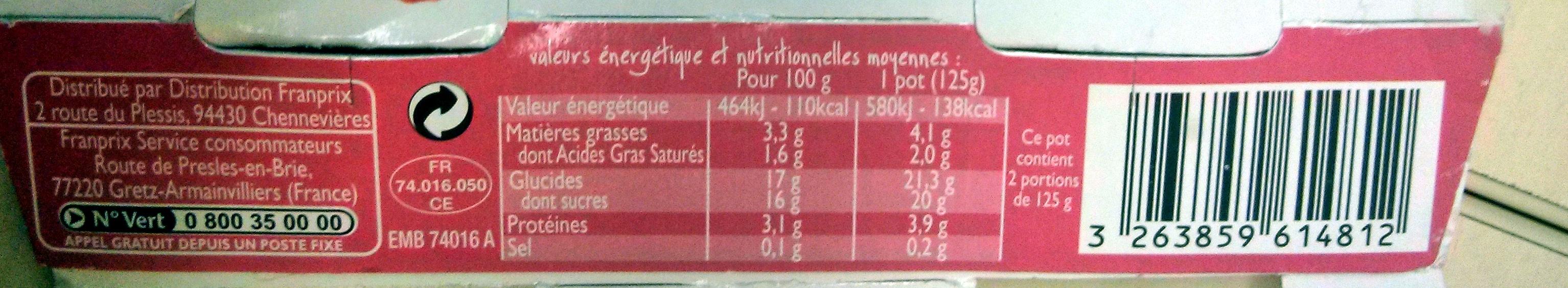 2 yaourts sur lit de framboise - Informations nutritionnelles - fr
