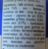 Yaourts à la Grecque Pignon-Noisette-Raisin - Ingrédients