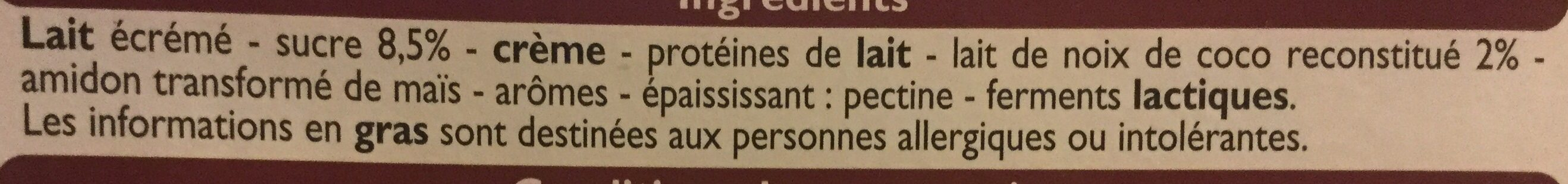 Yaourts Brassés parfum noix de coco - Ingrédients