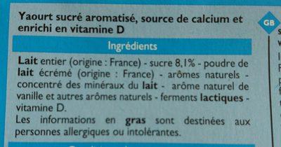 Yaourts aromatisés - Ingrédients - fr