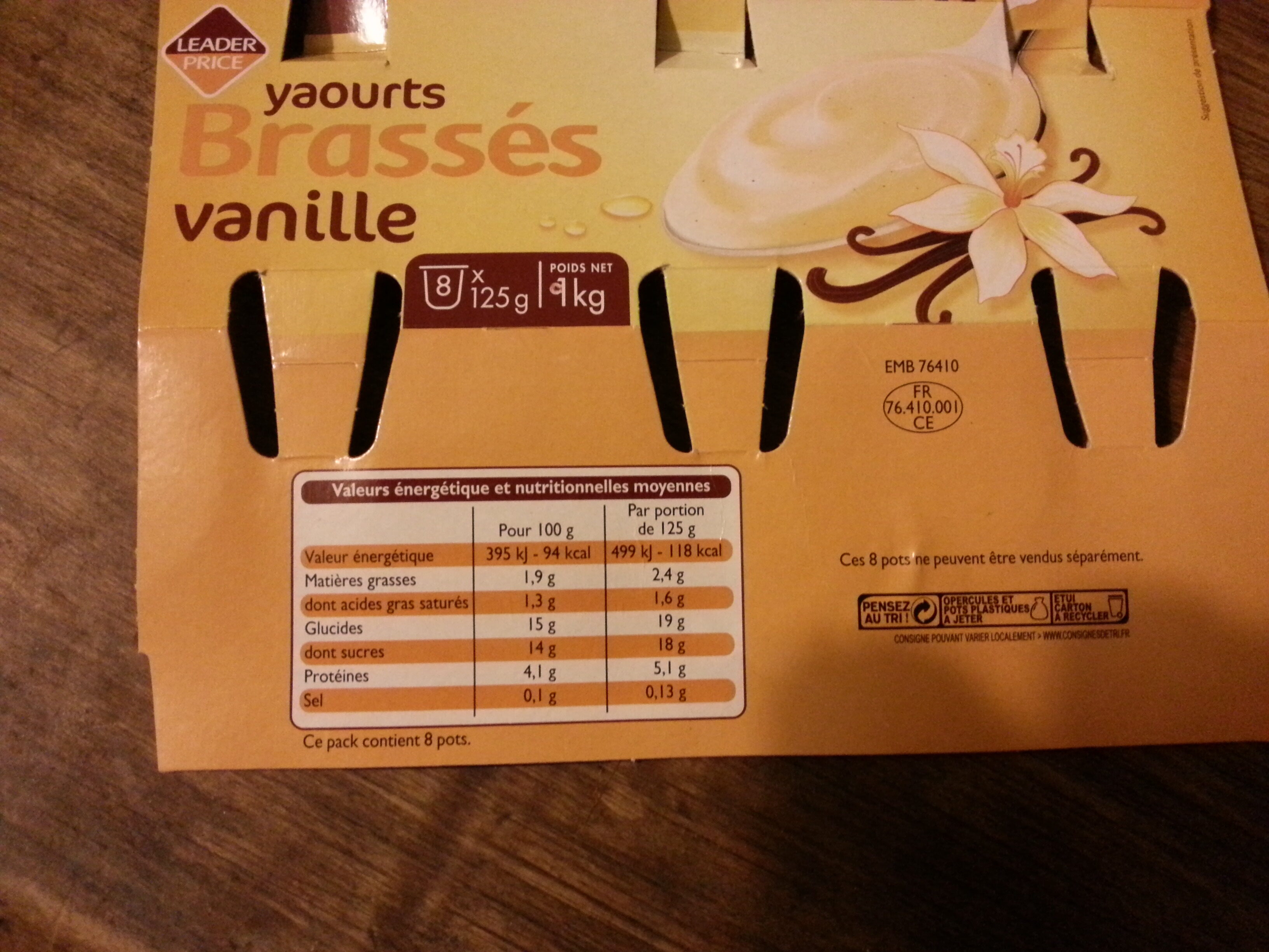 Yaourts Brassés vanille - Nutrition facts