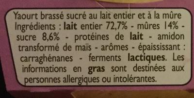 Yaourts mûres - Ingrédients - fr