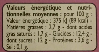 Yaourts mûres - Informations nutritionnelles - fr