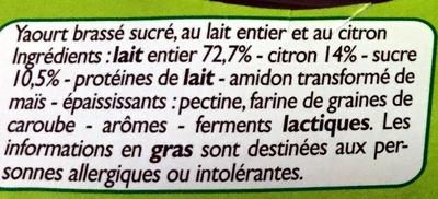 Yaourts Citron - Ingrédients - fr